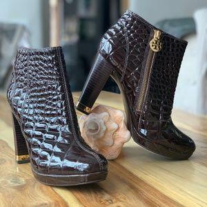 Tory Burch Italian croc-embossed leather booties